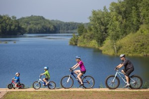 A family riding the Cuyuna Lakes Mountain Bike Trail, north of Crosby, MN. -photo by Aaron W. Hautala