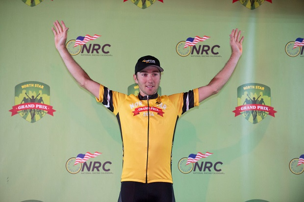 "Four-time U.S. Champion, Team Jelly Belly's ""Fast Freddie"" Rodriguez, on last year's podium. photo Stephanie Williams"
