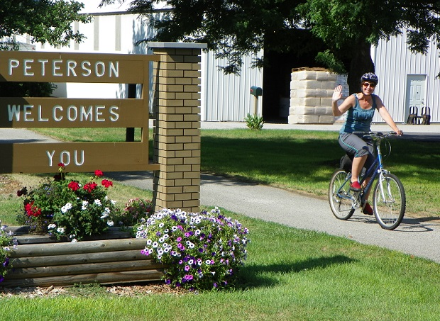 Riding through Peterson, after stopping for pie along the Root River Trail