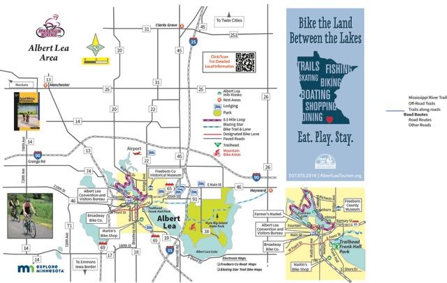Albert Lea MN Bike Map by HaveFunBiking.com