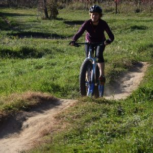 Fat bike fun riding a single track mountain bike trail.