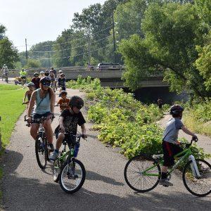 Families having fun on the bike trail in LaCrosse, Wi.
