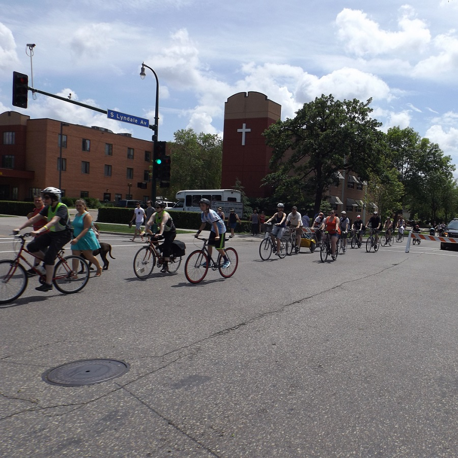Open Streets allowed people to bike through protected intersections on Lyndale Avenue in Minneapolis.