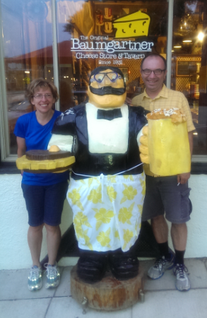 Mary Dirks, tour director and Scott Larson on the 2015 Swiss Cheese & Spotted Cow Bicycle Tour.