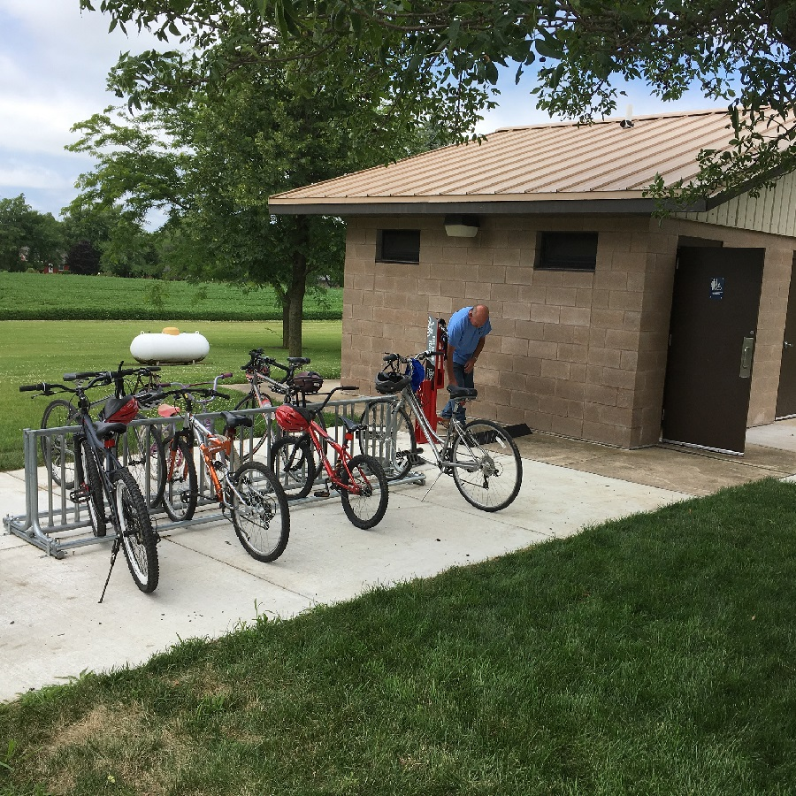 The Blazing Star trail head, in Hayward, has a new rest room facilitates, bike racks and a fix-it-station in the park there.
