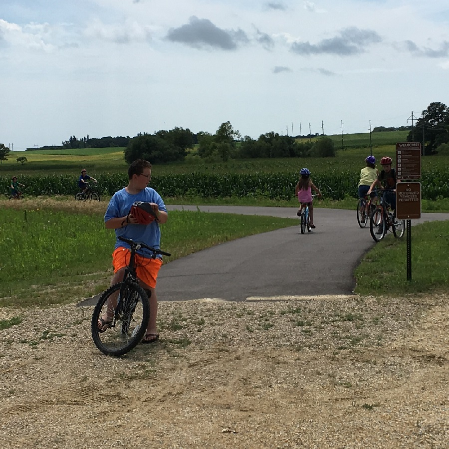 Resident and visitors rode their bikes on the new section of the Blazing Star Trail, enjoying lemonade and cookies at the end before returning back to Hayward.