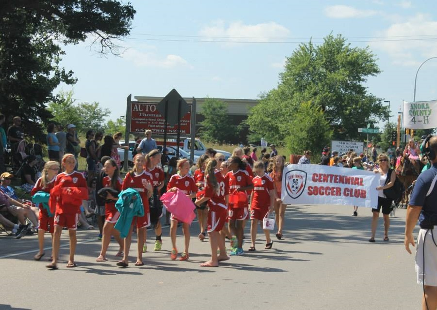 The Lino Lakes Blue Heron Days Festival parade has many floats and marching bands.