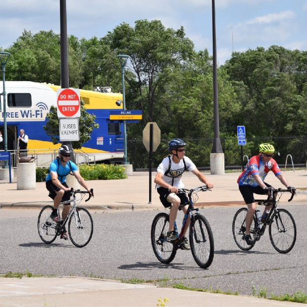 Here cyclists depart the Northstar Train to pedal back to the Twin Cities Gateway on the Mississippi River Trail.
