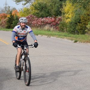 On the way to a Minnesota mountain bike trail with fall colors becoming more and more prevalent.