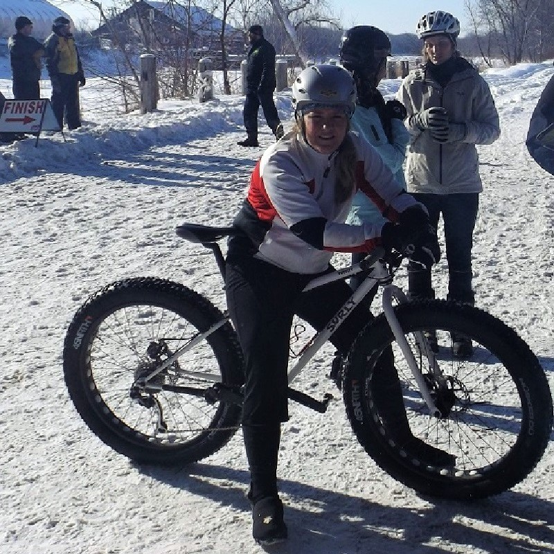 Fat bikes are great year-round, here is a Surly bike at a race in the Minnesota River bottoms in Bloomington, MN.