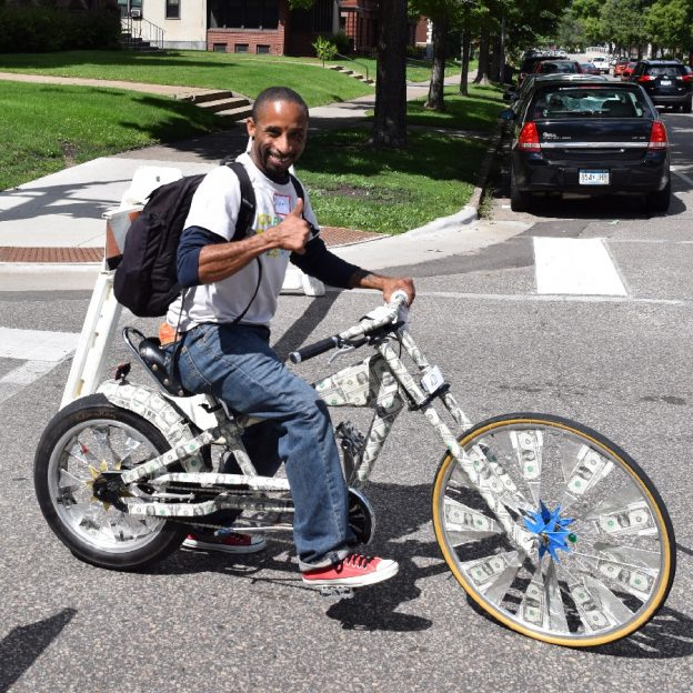 With determination, this motivation Monday cyclist demonstrates his passion for riding in style, money is no object.