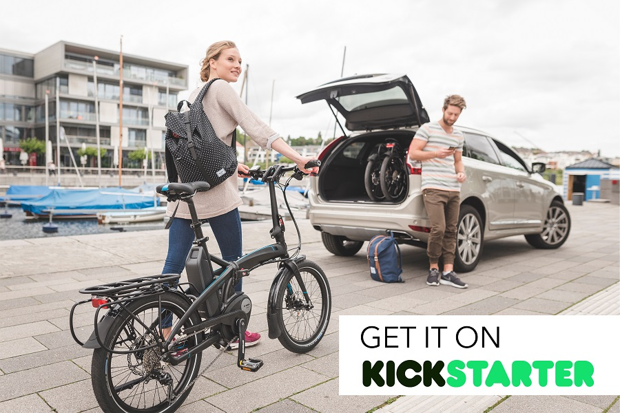The Tern Vektron*, a folding bike on Kickstarter is great for packing in a car or storage unit.
