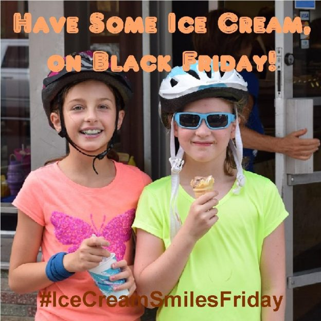 As Black Friday excites many, off from school and work, too take advantage of all the pre-holiday specials, don't forget to take a break from your outdoor activities and shopping for some ice cream.