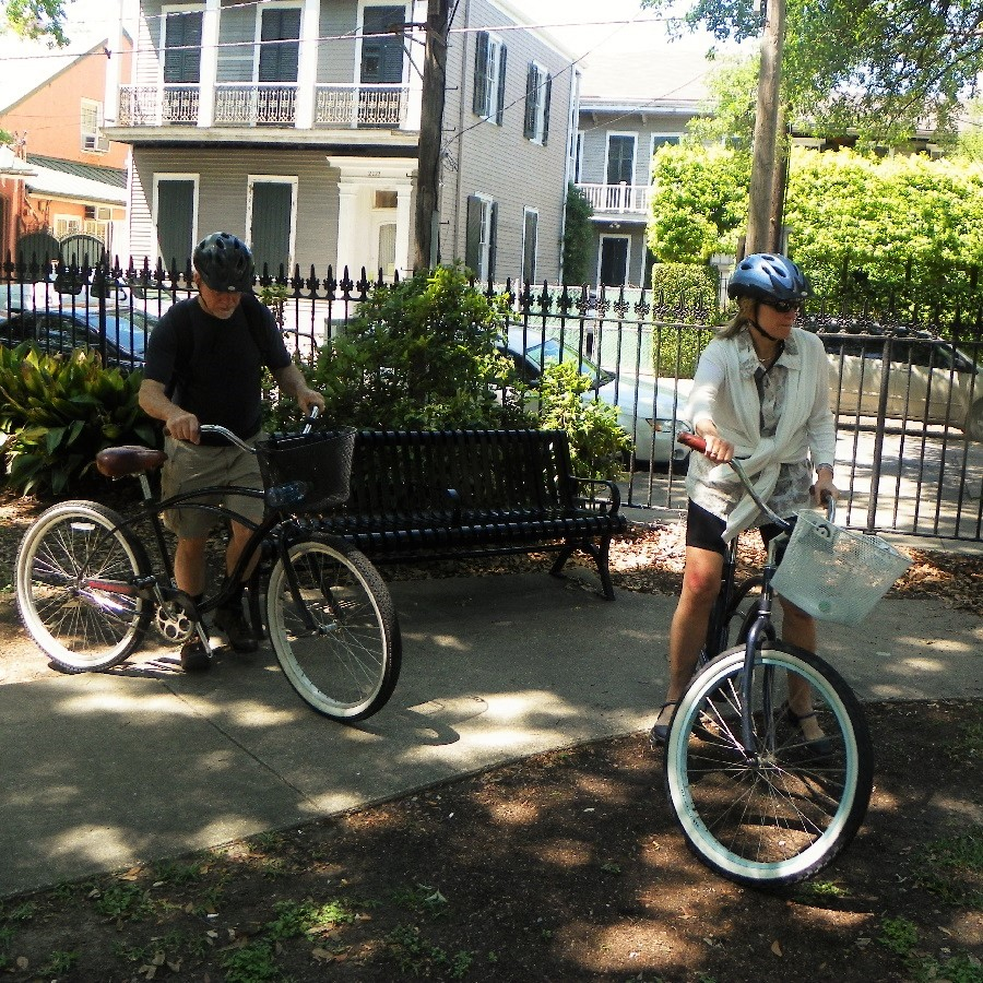 In the Garden District you will find several walking tours and stately homes to bike by.