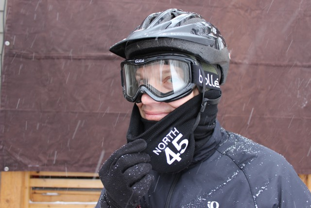 Have eye protection, like a pair of alpine ski goggles is important for a winter commute.