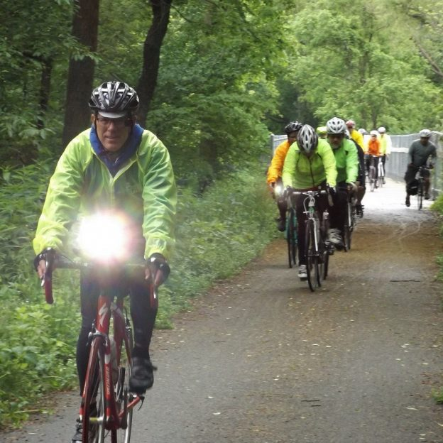 Lights are essential to make sure you have the safest ride possible. Here in this photo Brian Will, from Iowa's Cedar Valley Cycling Club lead a safe ride using trails and roads near sunset.