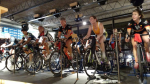 Riding you bike indoors trainer class