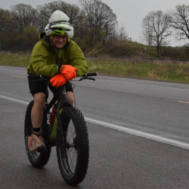On the 29th day of 30 Days of Biking this bicyclist on his fatty is ready for the Ironman Bicycle Ride tomorrow to celebrate his 30 day pledge with bragging rights