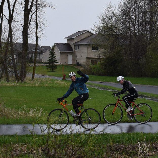 John Brown and Andy Ellis on the Minnesota Ironman Bike Ride April 30, 2017.