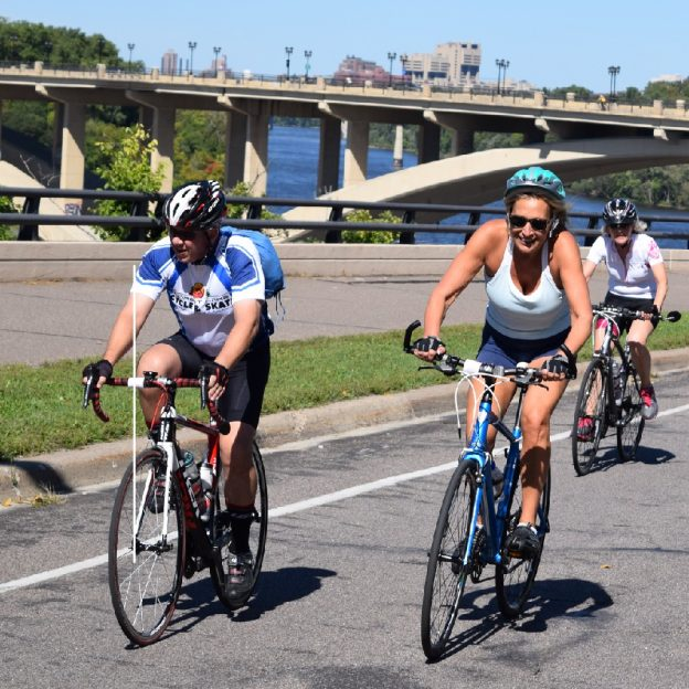 Another perfect day to ride the Mississippi River Trail, with both the Minneapolis and St Paul skylines in view as cyclists round this scenic waterscape.