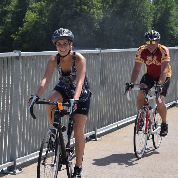 Rolling into the Twin Cities Gateway across the Coon Rapids Dam.
