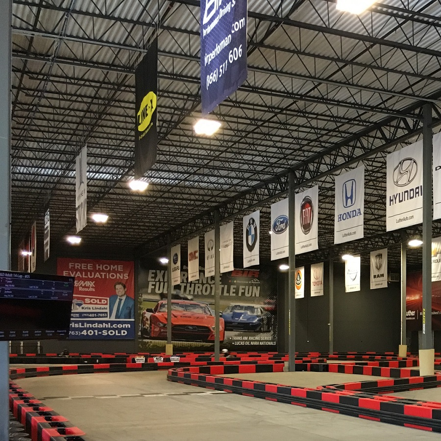The MB2 Raceway is an indoor go-cart racing facility for all skill levels.