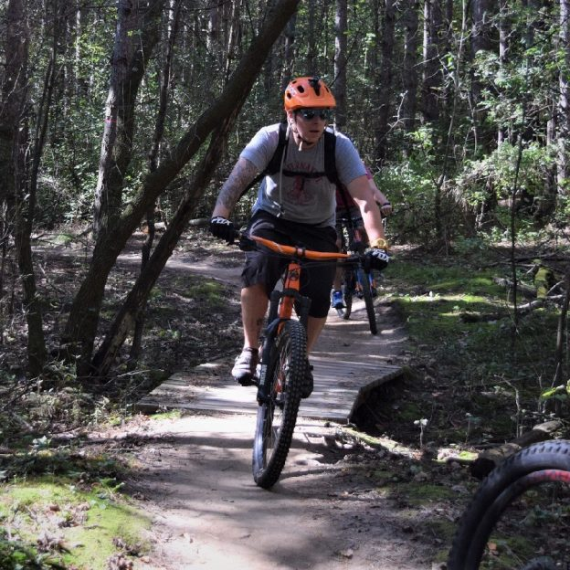 Its Saturday and another perfect day to be out on a mountain bike trail. Here we found this biker out early on a MORC trail.