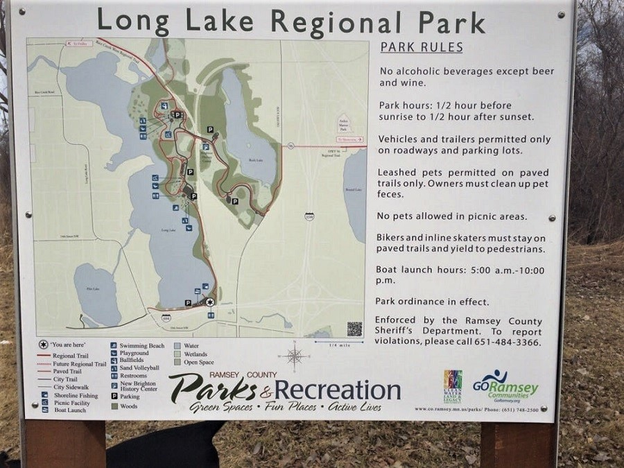 Long Lake Regional Park Map in New Brighton