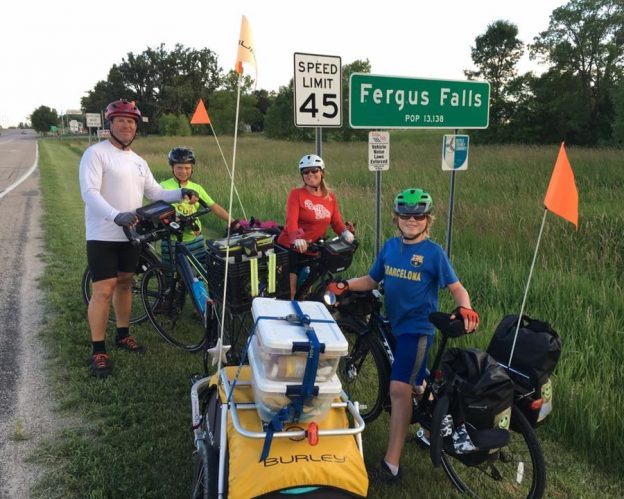 Bike touring season is in full swing here in Minnesota, Fergus Falls bike advocates line up dinner, accommodations and warm welcome to Ziemer Family.