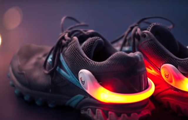 The lighted spurs clip to your shoes so you are more visible when riding your bike.