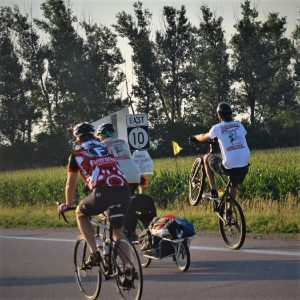 Touring the country side, a bunny hop into the sunrise was a great way to start the day for this cyclist.