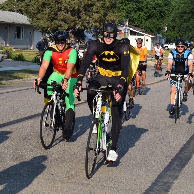 Holy pork chop! We spotted Batman and Robin ridding bicycles on RAGBRAI (Register's Annual Great Bicycle Ride Across Iowa) last week.