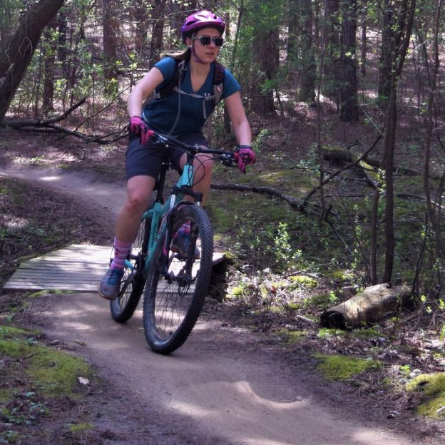 Tuesday morning and this mountain biking chick finds a dry trail to enjoy. In Minnesota, check MORC trail conditions before heading out