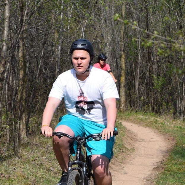 Another mountain biker having fun in Lebanon Hills Park.