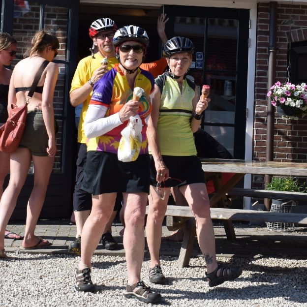 Its Ice Cream Smiles Sunday and here are some cyclist enjoying a cool treat at a rest stop along their route at a favorite ice cream shop.