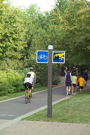 The Grand Rounds Bike trail here connects to the binning of the Luce Line trail.