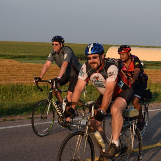 Riding into the morning sun on Day 1, of RAGBRAI 2017