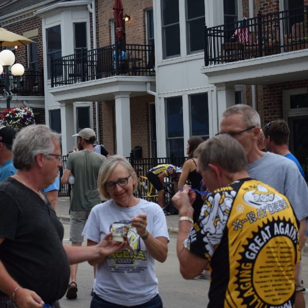 Its Ice Cream Smiles Sunday here in the upper Midwest and here are some cyclist after a hard day on RAGBRAI, in Iowa late in July, sharing some ice cream.