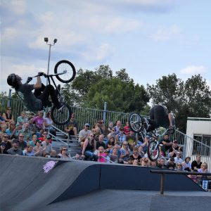 This bike pic, Wheelie Wednesday, we thought it would be fitting to show a picture of the BMX'rs from The Ride Factory. They performed some high-rising stunts right in front of an audience last year up at theX-Zone, up on Machinery Hill, at the Minnesota State Fair.