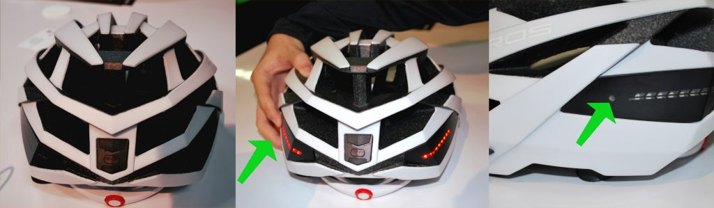 The Omni Bike Helmet, with photo receptor covered and lights on.