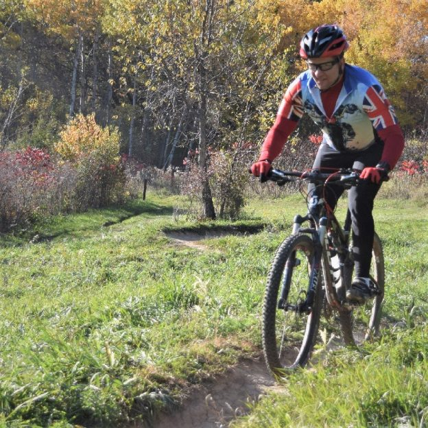 Mountain biking fun with the leaves turning and in their peak in many areas of the upper Midwest.