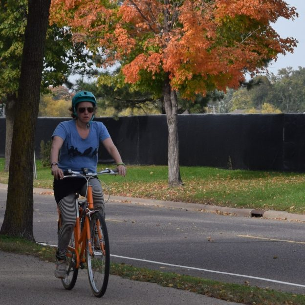 Another beautiful fall day to enjoy a bicycle ride along the trail as the fall colors come into peak along the parkways of the Twin Cities.