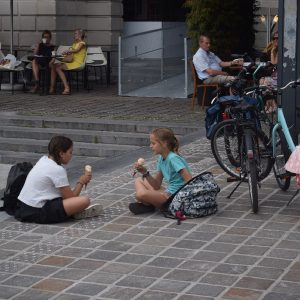 Its Ice Cream Smiles Sunday around the world. Here in the Netherlands these young bikers stops along the canal route to enjoy a creamy cool treat before resuming her bicycle ride..