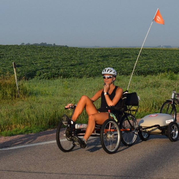 Riding into the Monday morning sun on RAGBRAI