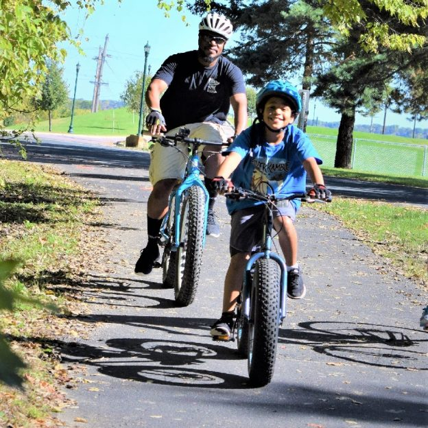 Family fun on the Red Jacket Trail, in Mankato MN, getting the fat bike legs ready for winter activities on the calendar planned.