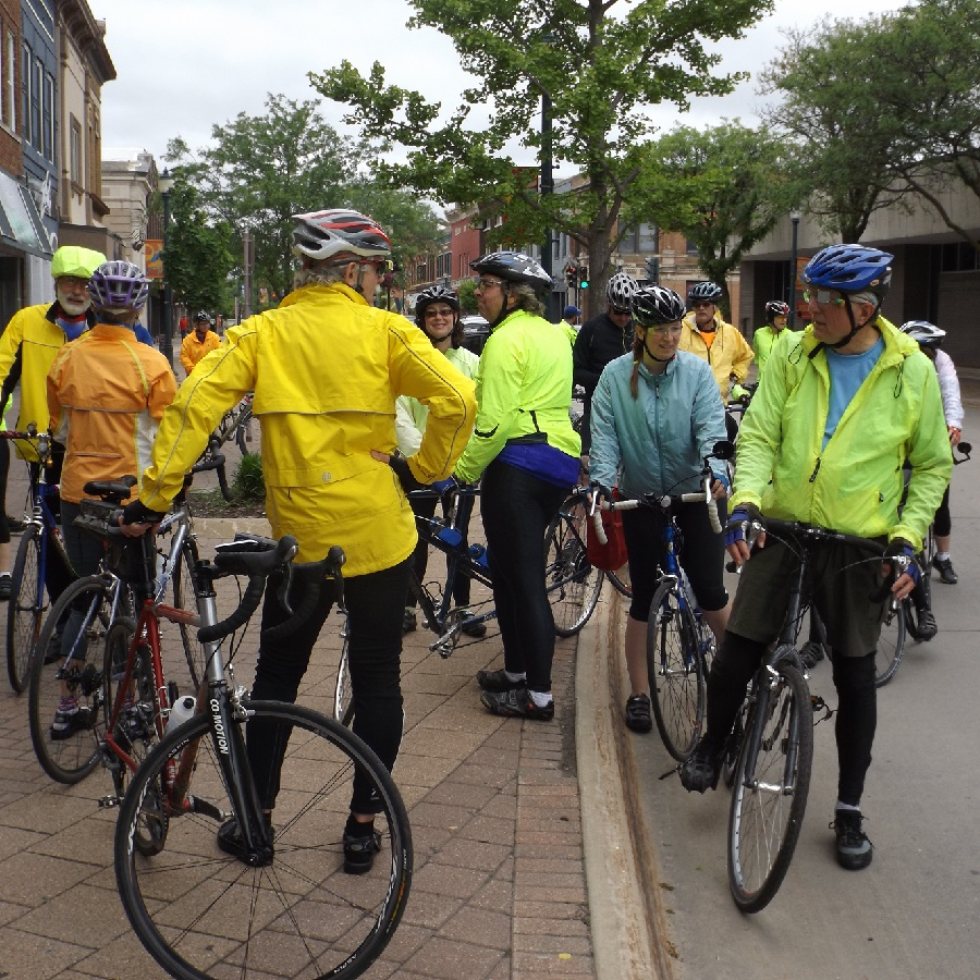 Gathering for a ride on the Promenade in Cedar Falls. in this bike pic