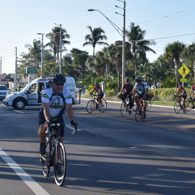 Tour bike directors, at the National Bicycle Tourism Conference in St Pete, FL, roll out for a morning ride before scheduled sessions begin.