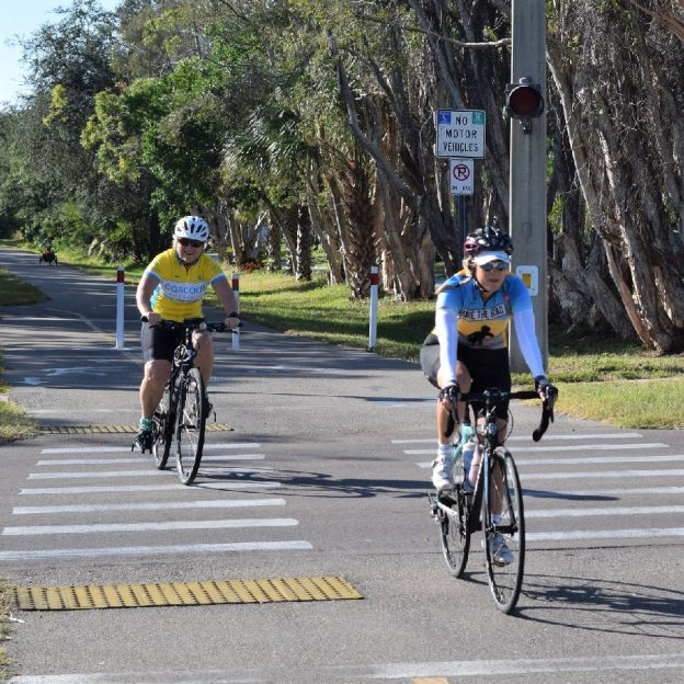 Riding the Fred Marquis Pinellas Trail from St Pete to Clearwater, Florida.