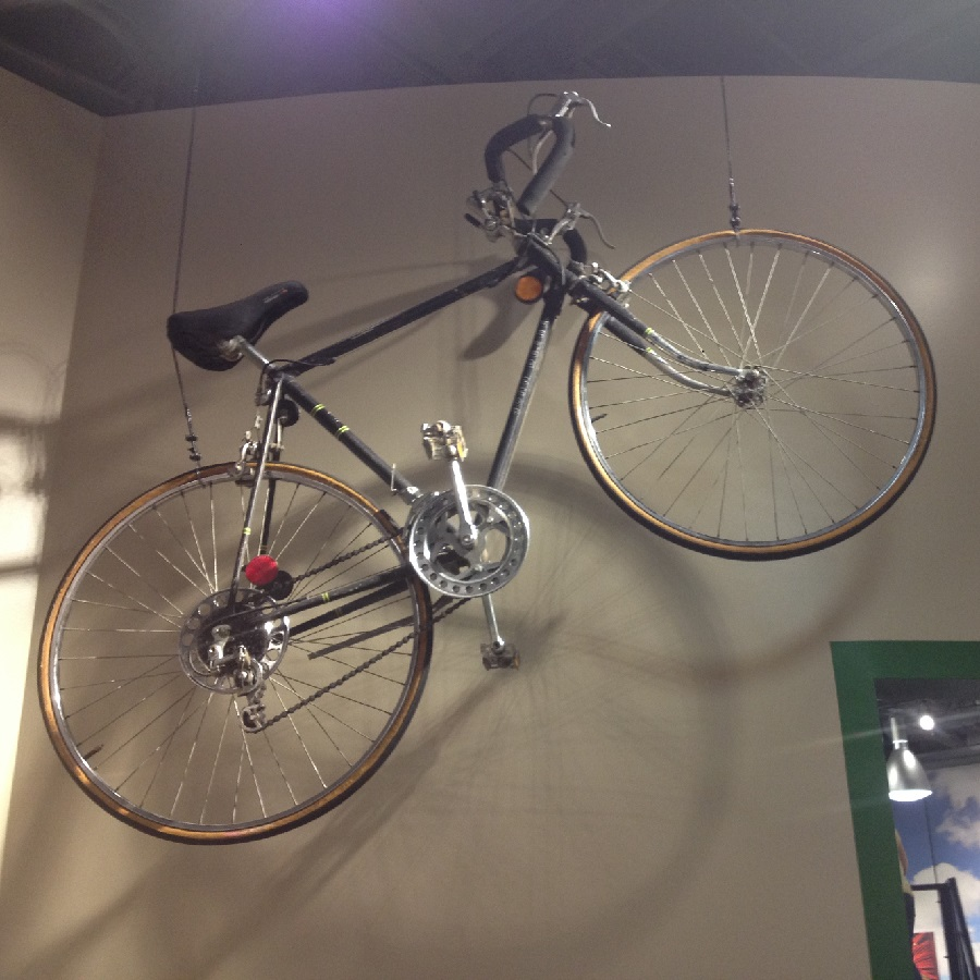 Here at the museum is a John Deere bicycle, from the 70's, displayed.