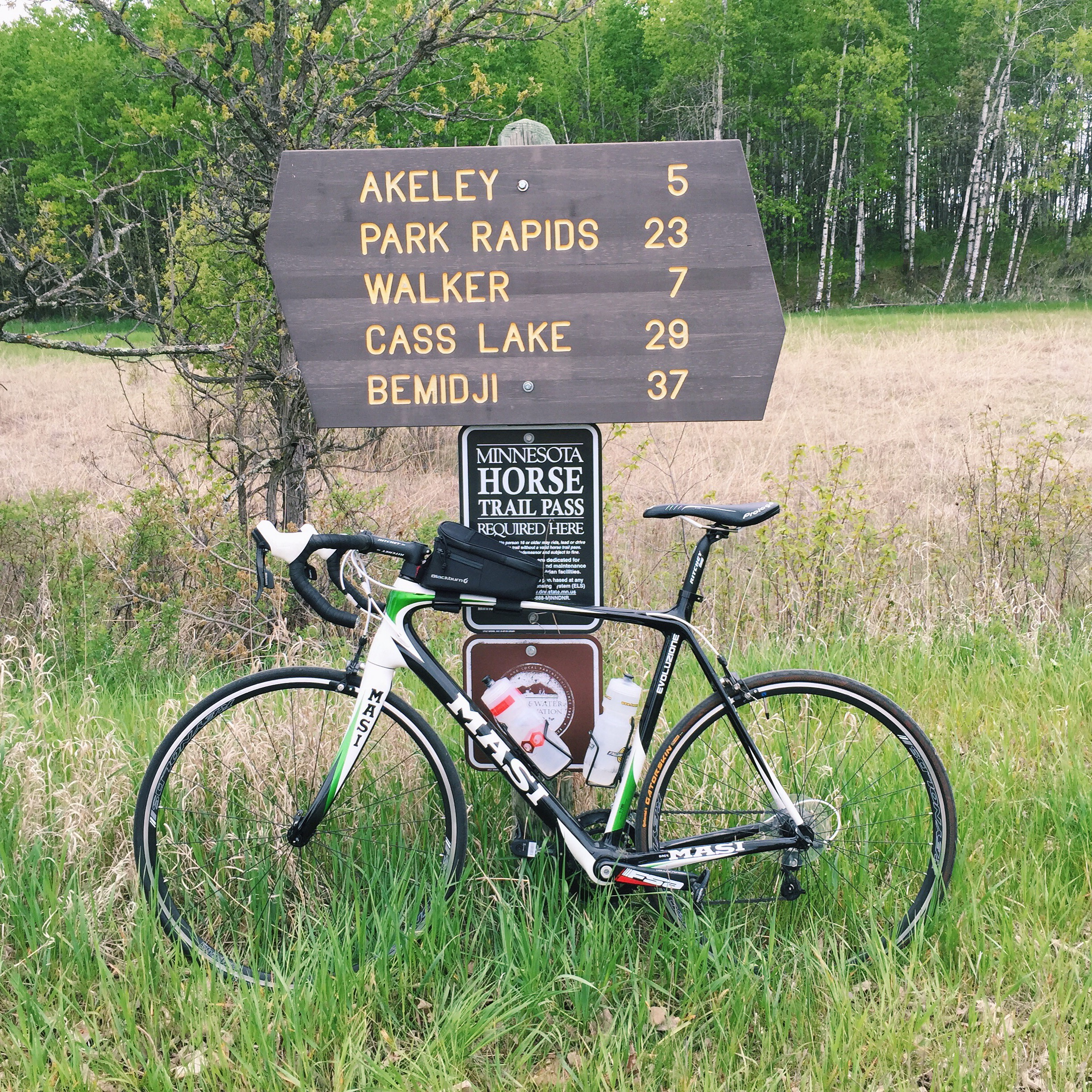 A mileage marker on the Heartland Trail